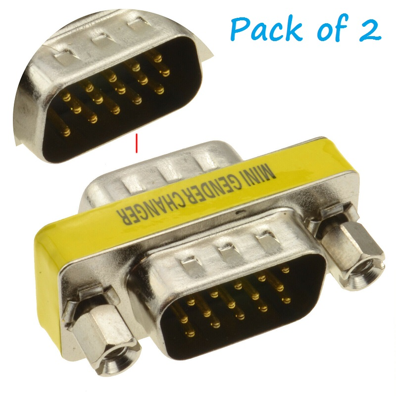 15 Pin HD DB15 VGA SVGA M//M Male to Male Gender Changer Adaptor Mini